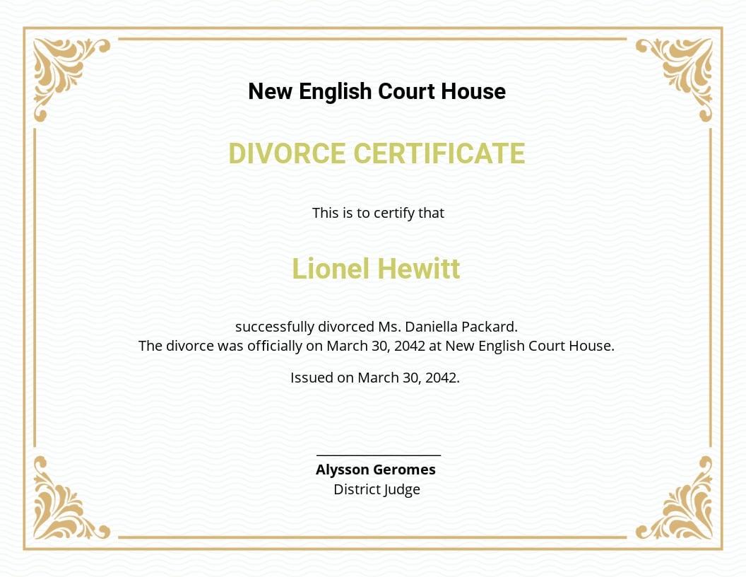 divorce certificate template word