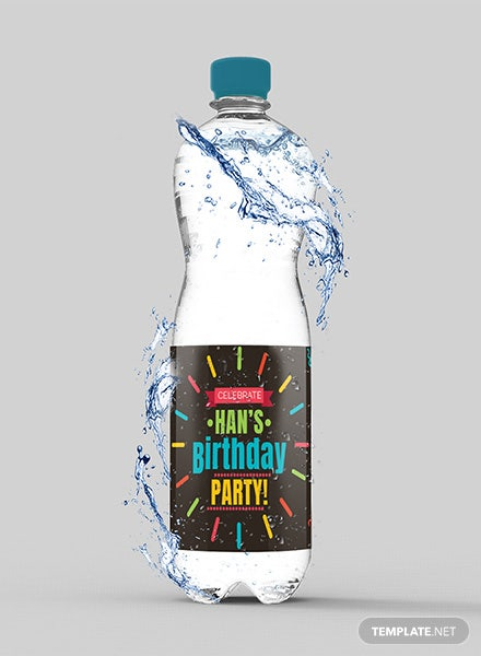 Birthday Water Bottle Label Template