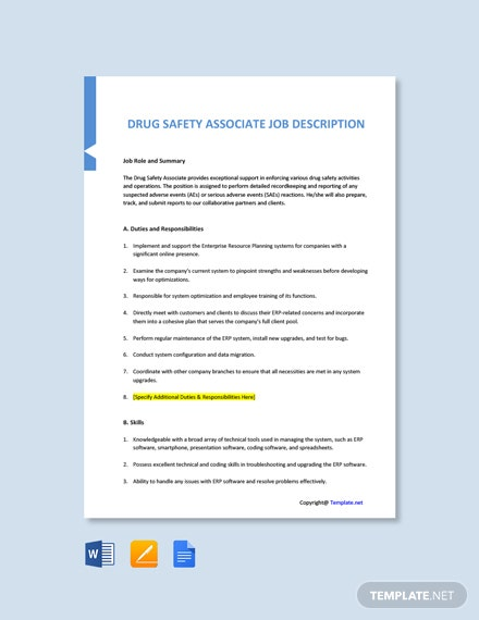 Free Drug Safety Associate Job Ad/Description Template