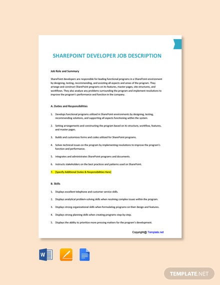 Free Sharepoint Developer Job Ad/Description Template