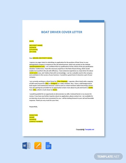 Free Boat Driver Cover Letter Template