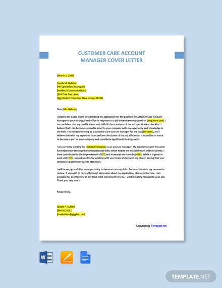 Free Customer Care Account Manager Cover Letter Template