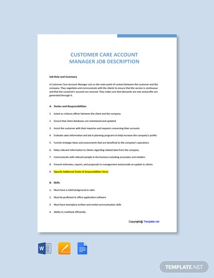Free Customer Care Account Manager Job Ad/Description Template
