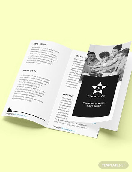 Free Trifold Creative Software Brochure Template Format