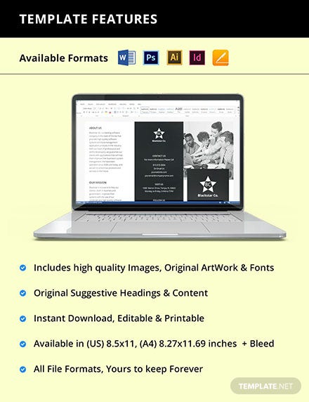 Free Trifold Creative Software Brochure Template Instruction
