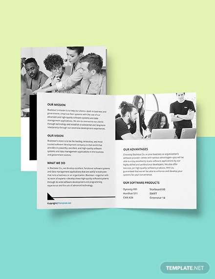 Free Creative Software Bifold Brochure Template Format