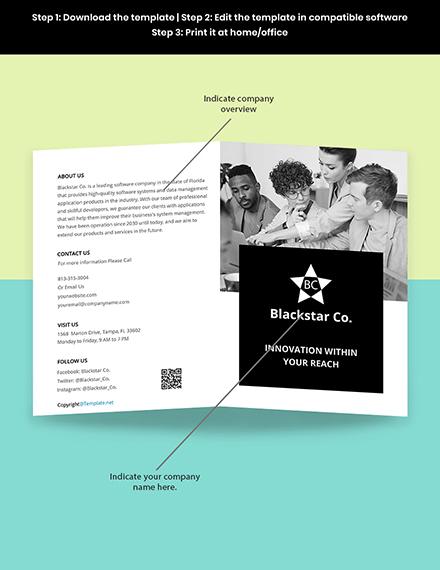 Free Creative Software Bifold Brochure Template Sample
