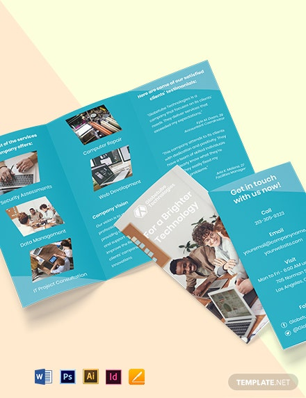 Tri-Fold Elegant IT Brochure Template