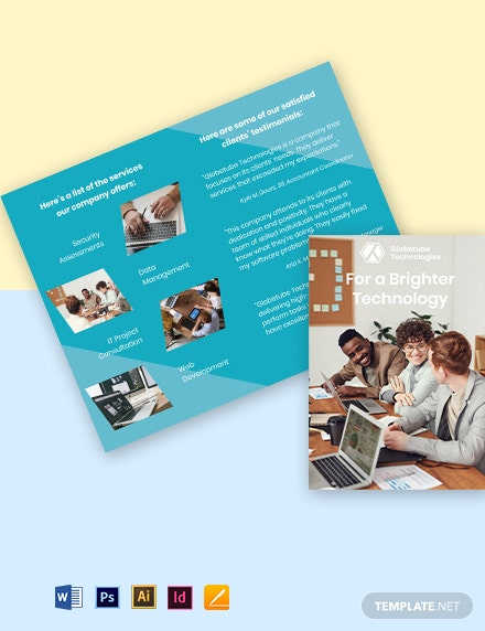 Bi-Fold Elegant IT Brochure Template