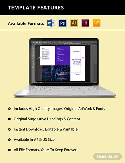 Free Trifold Simple IT Brochure Template Format
