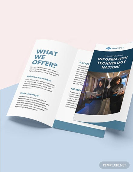 Trifold Software Company Brochure sample