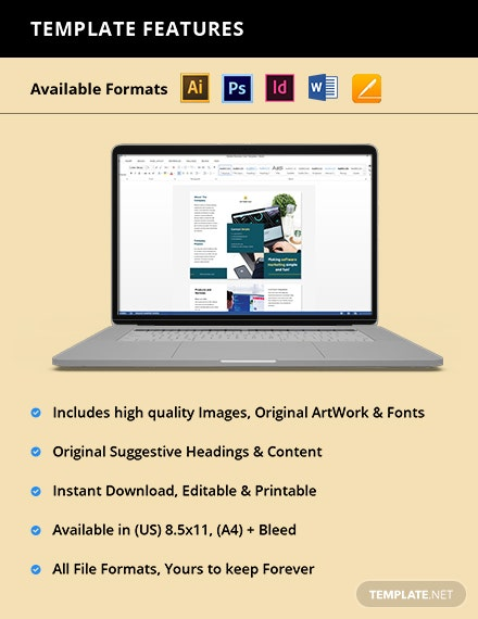 Trifold Software Marketing Brochure Template Format