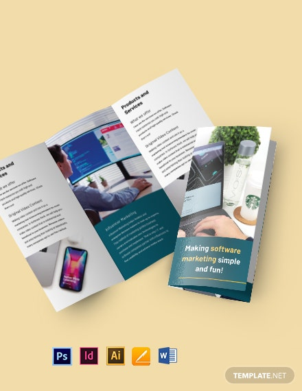 Tri-Fold Software Marketing Brochure Template