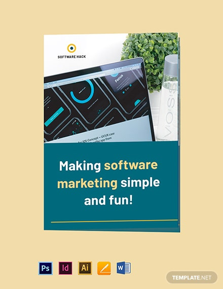 Bi-Fold Software Marketing Brochure Template