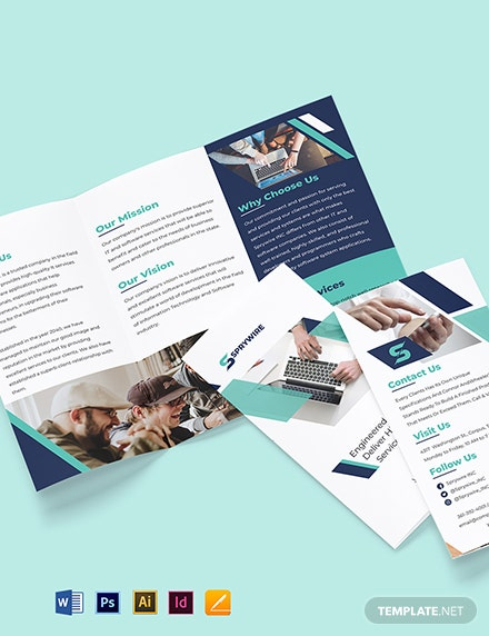 Tri-Fold IT Corporate Brochure Template