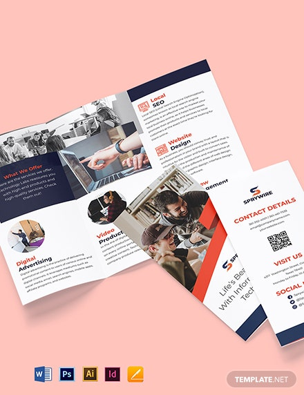 Tri-Fold IT Promotional Brochure Template