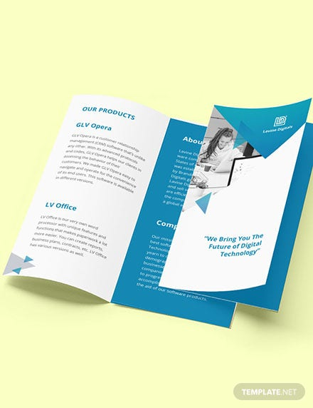 Trifold Software Product Brochure Template Format