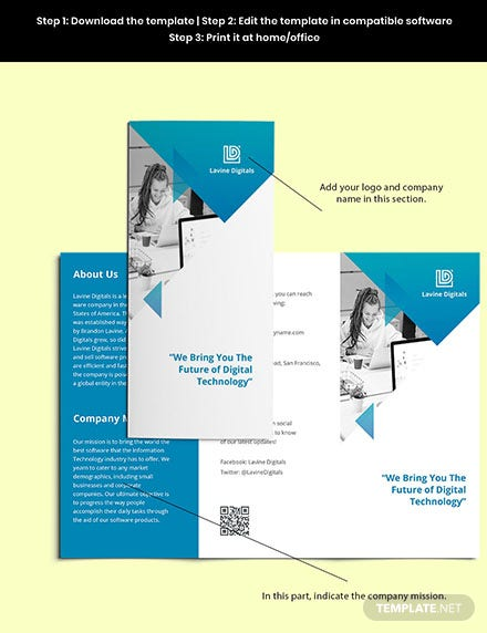 Trifold Software Product Brochure Template Sample