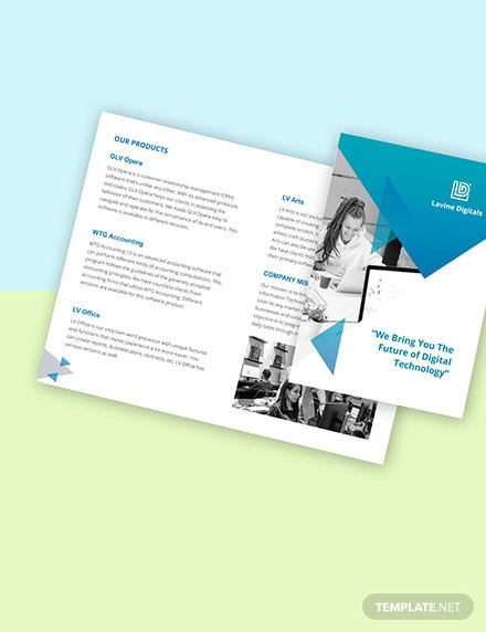 Bifold Software Product Brochure Template Format