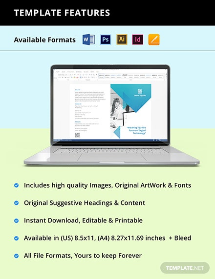 Bifold Software Product Brochure Template Instruction
