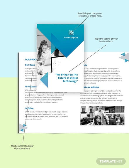 Bifold Software Product Brochure Template Sample