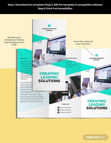 Trifold Computer Programming Brochure Template Sample