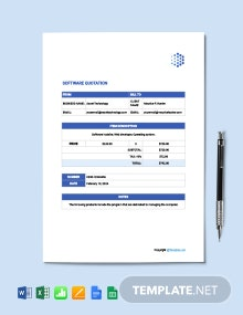 Free Sample Software Quotation Template