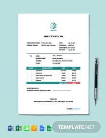 Free Simple IT Quotation Template