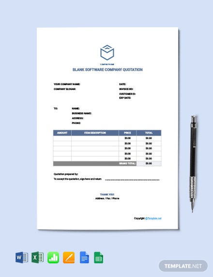 Free Blank Software Company Quotation Template