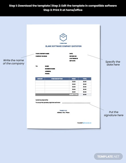 Free Blank Software Company Quotation Format
