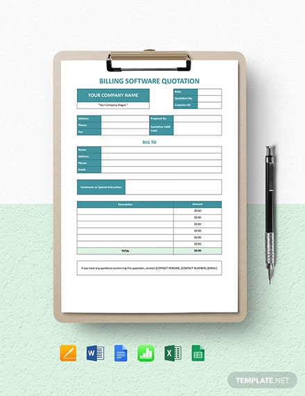 Billing Software Quotation Template
