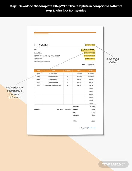 Free Simple IT Invoice format