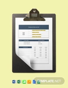 Translation Services Invoice Template