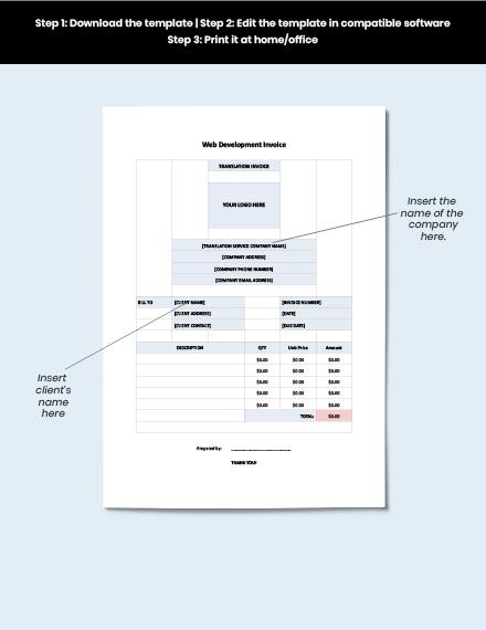 Web Development Invoice Template download