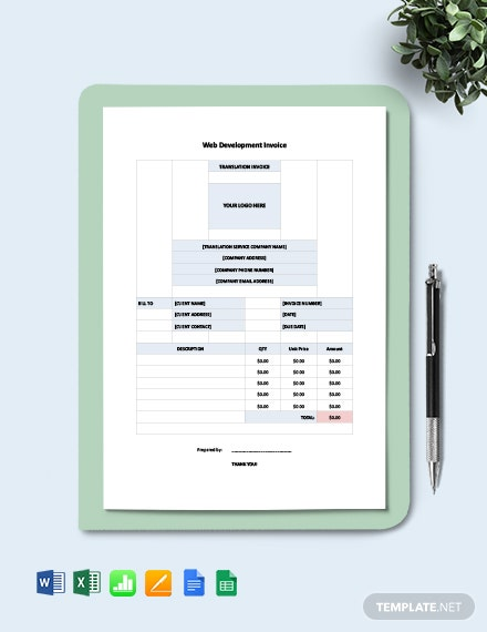 Web Development Invoice Template