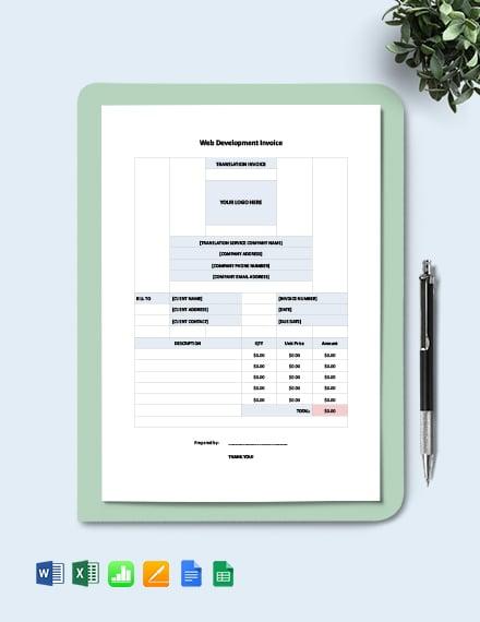 Web Development Invoice Template