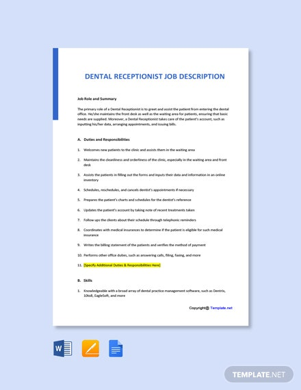 Dental Office Receptionist Job Ad and Description