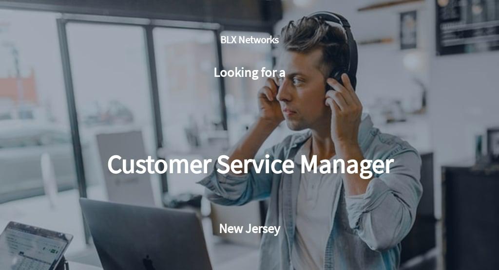 Customer Service Manager Job Description Template