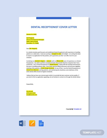 Dental Office Receptionist Cover Letter
