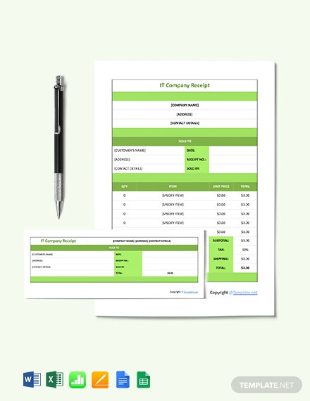 Sample IT Company Receipt Template