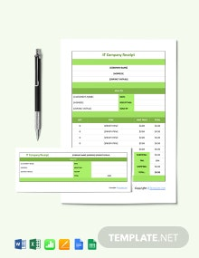 Free Sample IT Company Receipt Template