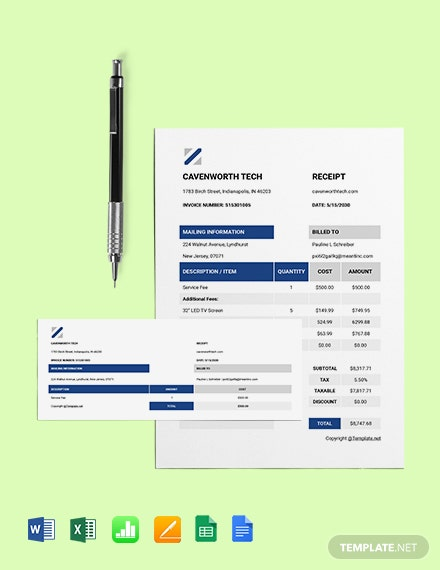 Free Basic IT Receipt Template