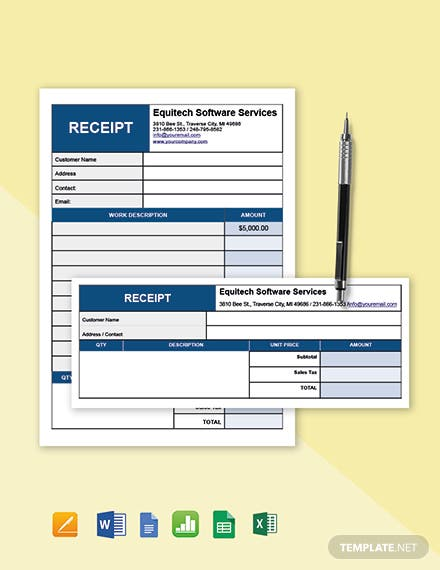Simple Software Service Receipt Template