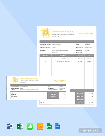 IT Sales Receipt Template