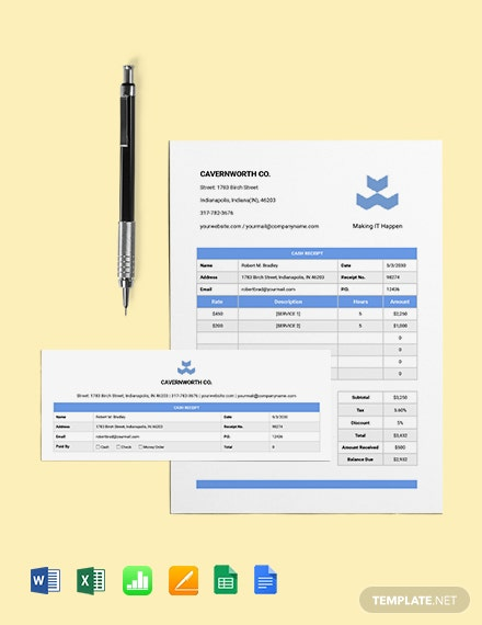 IT Cash Receipt Template