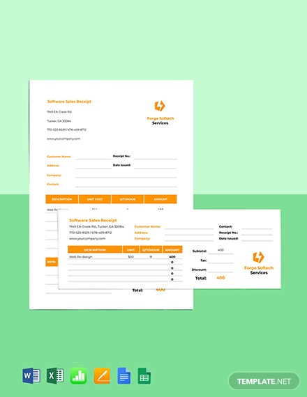 Software Sales Receipt Template