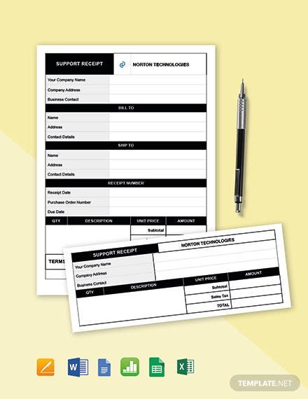 IT Support Receipt Template