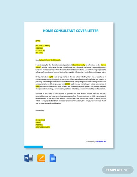 Free Home Consultant Cover Letter Template