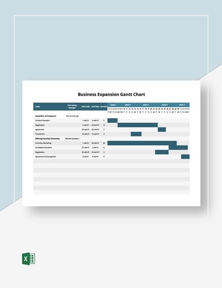 Business Expansion Gantt Chart Template