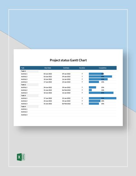 Project Status Gantt Chart Template